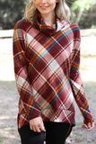 Rust Plaid Cowl Neck Tunic Top