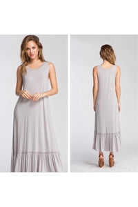Sleeveless Maxi Dress with Ruffle Detail Bottom Hem