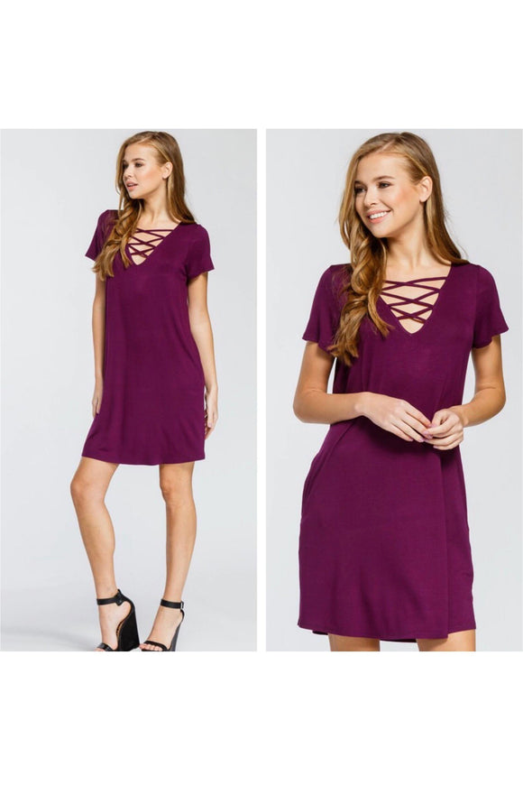 Midi Dress with Criss Cross Front Detail