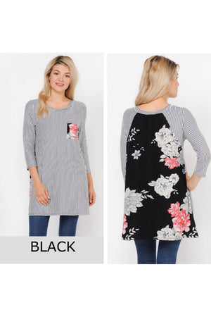 3/4 Sleeve Striped Floral Contrast Pocket Tunic Top