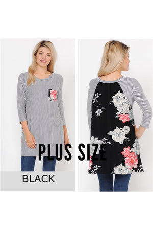 Plus Size Striped Floral Contrast Pocket Tunic Top