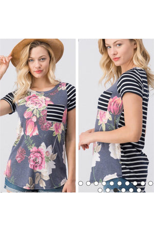 Short Sleeve Floral Top with Striped Back and Pocket