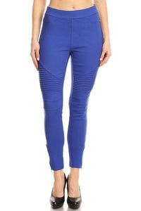 Plus Size Cotton Blend Motto Jeggings (Royal Blue)