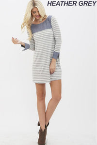 Chambray & Stripe Contrast Dress