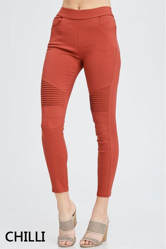 Plus Size Cotton Blend Motto Jeggings (Chilli)