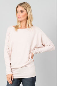 "Long Dolman Batwing Sleeve Brushed ""Hacci"" Sweater  (Ivory)"