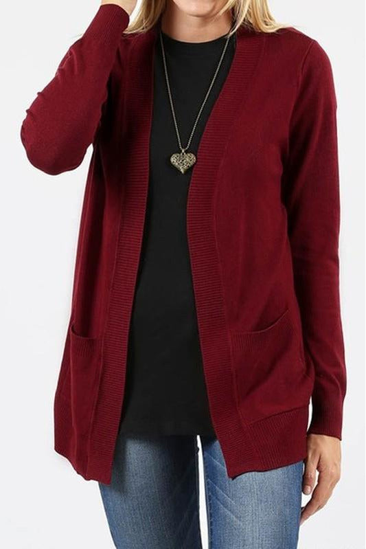 Plus Size Long Sleeve Open Cardigan with Pockets