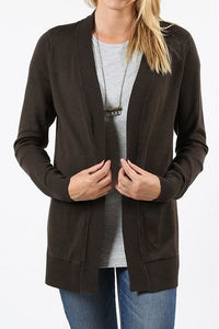 Plus Size Long Sleeve Open Cardigan with Pockets (Olive)