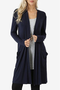 Plus Size Long Body Cardigan (Navy)