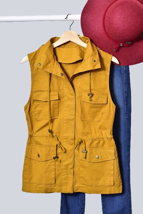 Utility Vest with Hood (Mustard)
