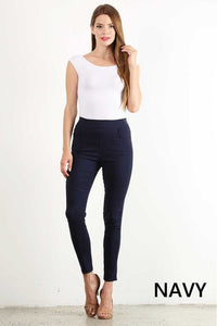 Plus Size Cotton Blend Motto Jeggings (Navy)