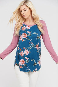 Plus Size Long Sleeve Raglan Top (Floral/Teal)