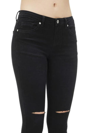 Black Slashed Knee Ankle Skinny Jeans