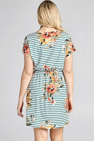 Plus Size Floral Self-Tie Knit Dress