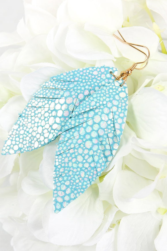 Blue Fringed Marquise Spotted Faux Leather Earrings