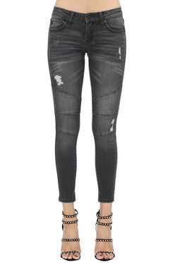 In Stock Kan Can Charcoal Low Rise Moto Skinny Jeans