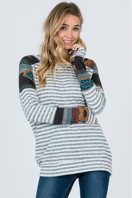 Long Sleeve Striped Aztec Top
