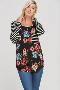 Long Sleeve Striped Raglan Top (Floral/Black/Ivory)