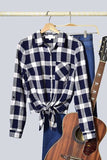 Fall Plaid Tie Front Shirt