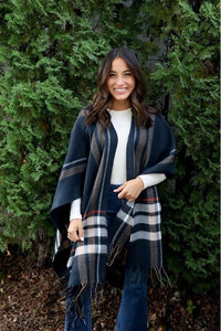 Fall Navy Coral Cape