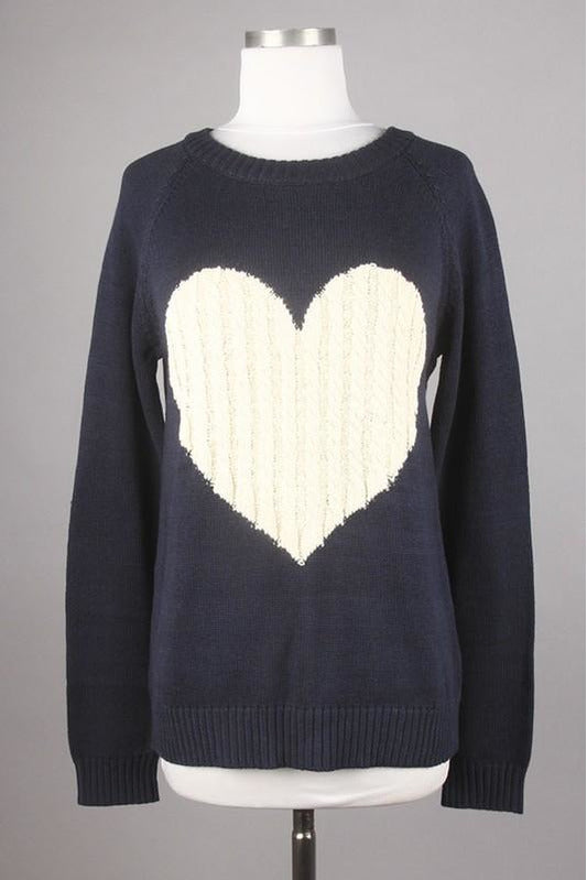 Cable Knit Heart Sweater (Navy/Oatmeal)