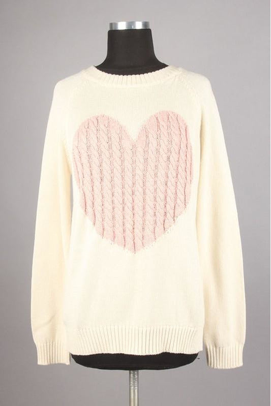 Cable Knit Heart Sweater (Oatmeal/Pink)