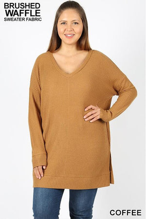 Plus Size Long Sleeve Thermal Waffle V-Neck Sweater (Coffee)
