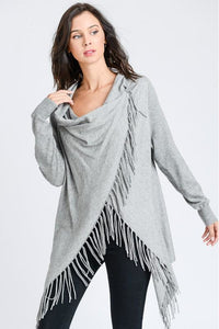 Long Sleeve Wrap Poncho with Fringe Detail (Heathered Gray)