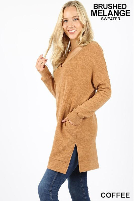 Long Sleeve Thermal Waffle V-Neck Sweater (Coffee)