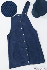 Corduroy Overall Dress with Button Down Front (Navy)