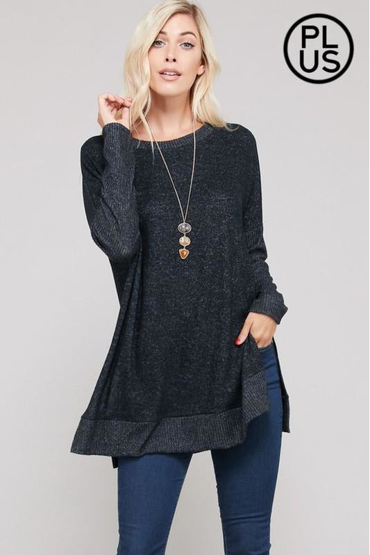 Curvy Cashmere Dolman Tunic Top