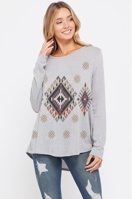Flowy Gray Aztec Top