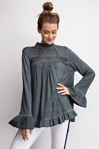 Long Sleeve Oil Washed Peasant Top (Ash Blue)