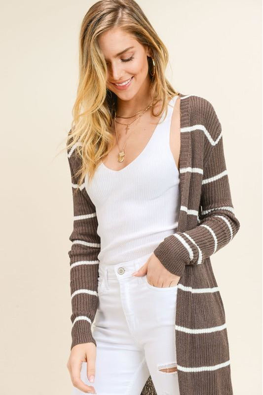 Ribbed Striped Cardigan (Brown or Olive)