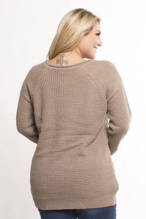 Plus Size Knit Round Neck Sweater