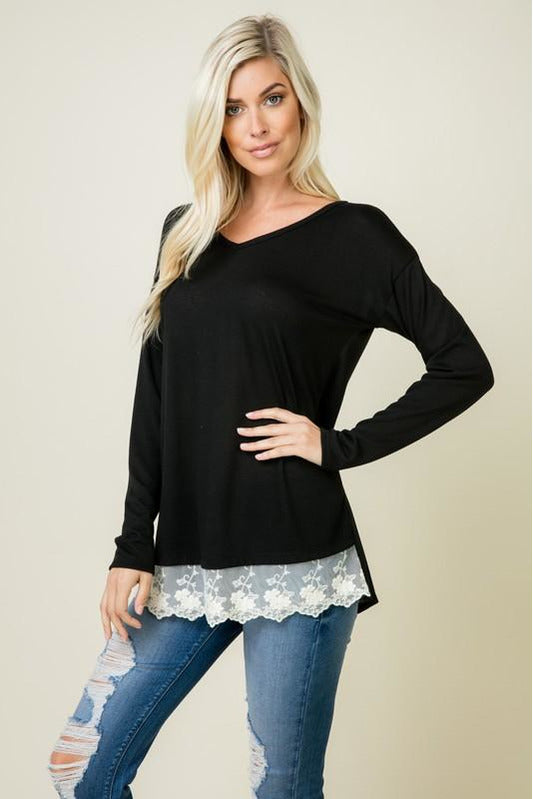 V-Neck Lace Detail Top