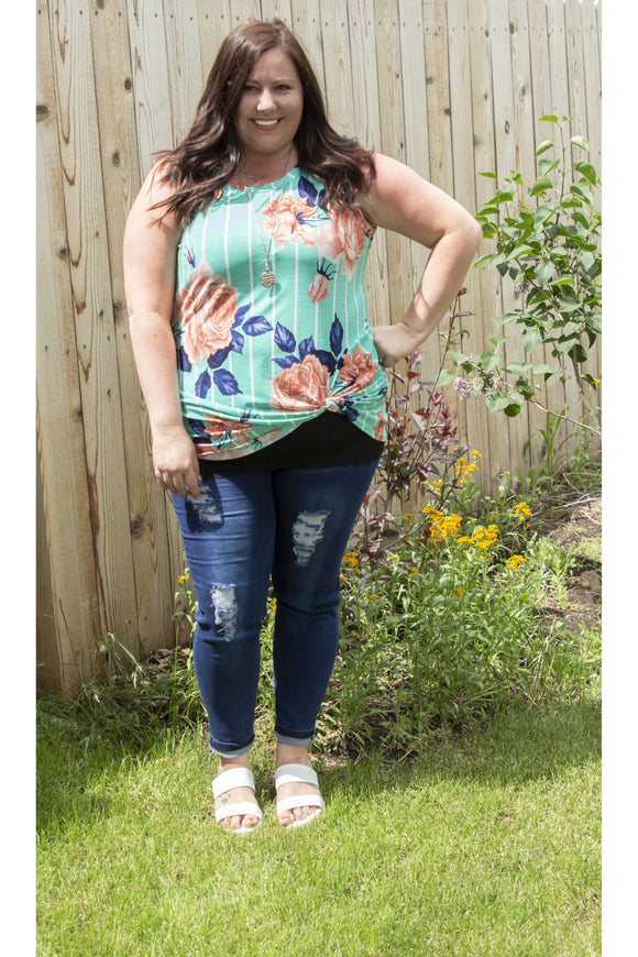 Curvy Mint Vertical Striped Tank