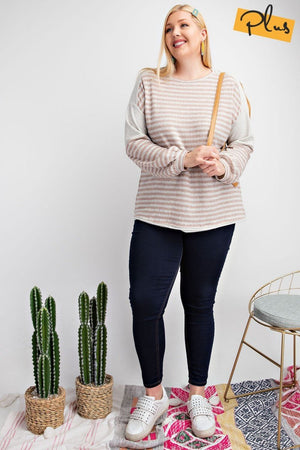 Curvy Striped Terry Knit Boxy Top