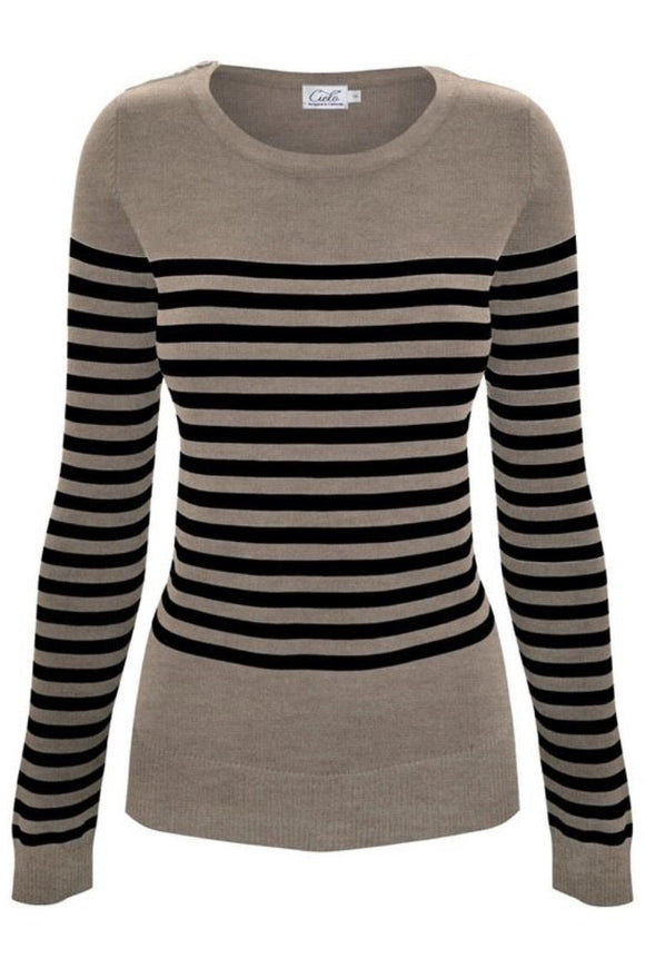 Long Sleeve Striped Sweater (Camel Black)