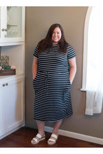 Load image into Gallery viewer, Curvy Black Striped Dress