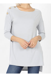 Curvy Wood Button Shoulder Tunic Top
