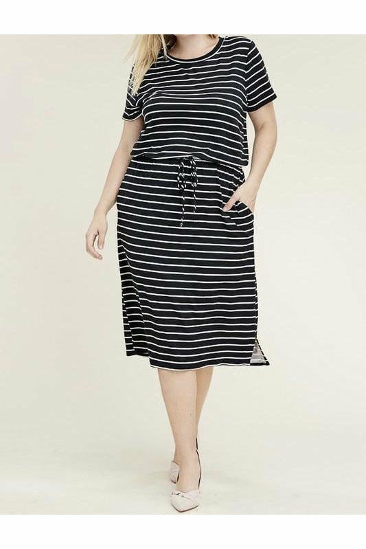 Curvy Black Striped Dress