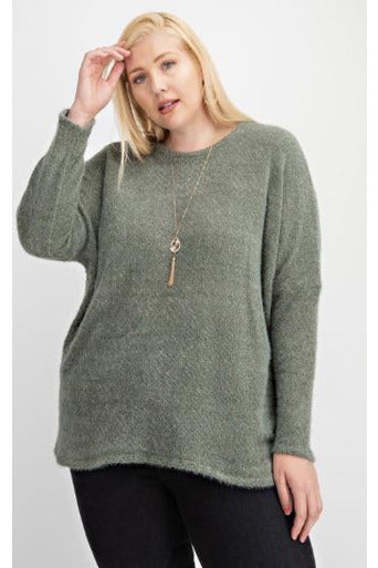 Curvy Round Neck Hairy Sweater