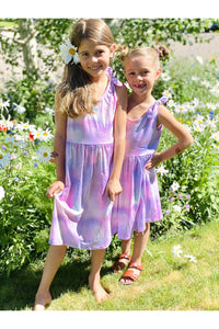 Girls Pastel Tie Dye Purple Ballerina Dress