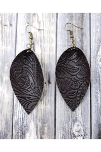 Faux Leather Leaf Drop Earrings (Black)