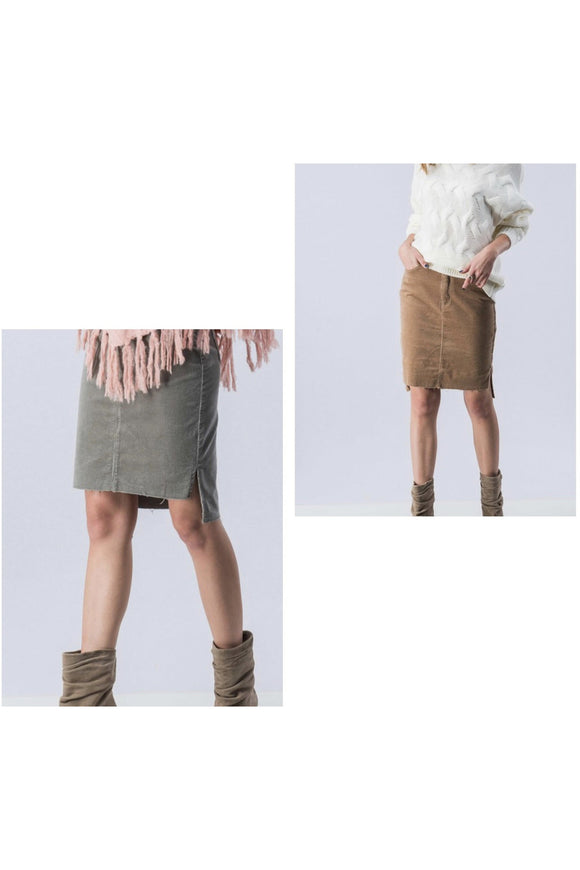 Corduroy Knee Length Skirt