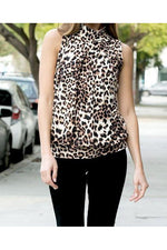 Load image into Gallery viewer, Leopard High Neck Tank Top