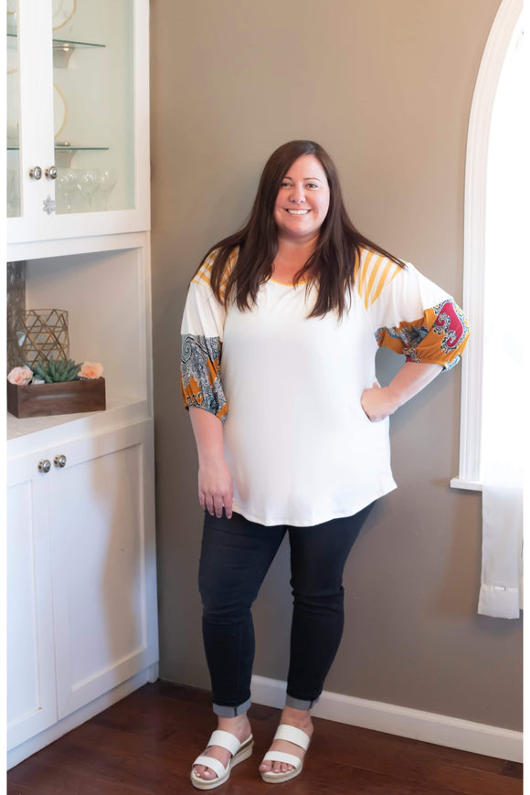Curvy Paisley Color-Block Top
