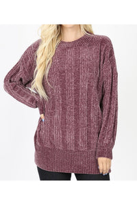 Curvy Chenille Cable Knit Sweater