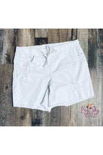 Load image into Gallery viewer, White Destructed Jogger Shorts